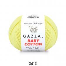 Пряжа Gazzal Baby cotton (60% хлопок, 40% акрил, 50 гр/165 м),3413 светло-жёлтый