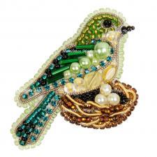 """Набор для изготовления броши Crystal Art """"Птичка в гнезде"""". Размер - 4 х 5,5 см"""