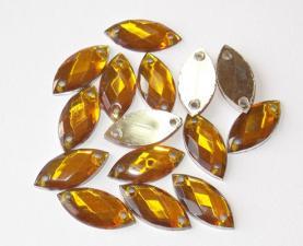 Стразы пришивные,7х15 мм,золотой, 1 шт