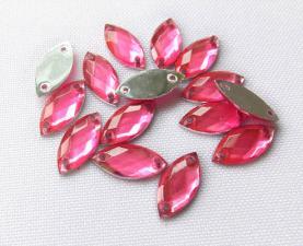 Стразы пришивные,7х15 мм,розовый, 1шт