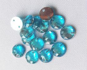 Стразы пришивные круглые,7 мм,голубой, 1шт