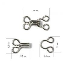 Крючок пришивной (плательный, юбочный) №1 (13х7,5мм) цв. никель