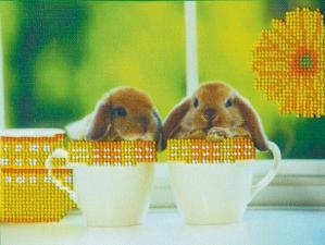 Кролики-1. Размер - 22,5 х 17 см.