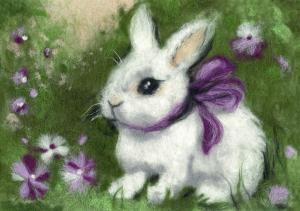 Woolla | Крольчонок с бантиком. Размер - 21 х 15 см