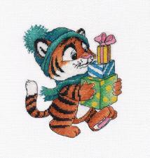Овен | Тигрёнок с подарками. Размер - 13 х 15 см