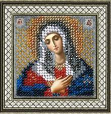 """Икона Пресвятая Богородица """"Умиление""""(с акрил. рамкой). Размер - 6,5 х 6,5 см."""