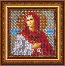 Икона Св.муч.София(с акрил. рамкой). Размер - 6,5 х 6,5 см.