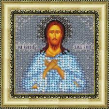 Икона Св.Прп.Алексий,человек божий(с акр. рамкой). Размер - 6,5 х 6,5 см.