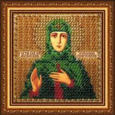 Икона Св.Прп.Кн.Евфросиния Московская(с акр. рамкой). Размер - 6,5 х 6,5 см.