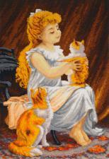 Девочка с котёнком. Размер - 41 х 59 см.