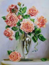 Розы на мраморном столике. Размер - 35 х 47 см.