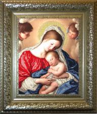 Мадонна с младенцем. Размер - 31,6 х 40,9 см.