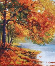 Осенний берег. Размер - 34 х 42 см.