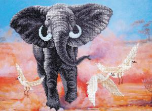 Африканский слон. Размер - 42 х 31 см.