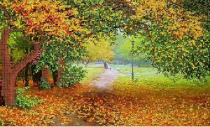 Осенний парк. Размер - 37 х 22 см.