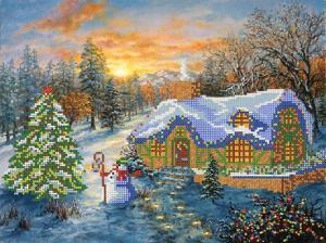 Рождественский домик. Размер - 34 х 26 см.