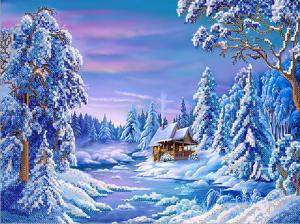 Зимняя деревушка. Размер - 35 х 26 см.
