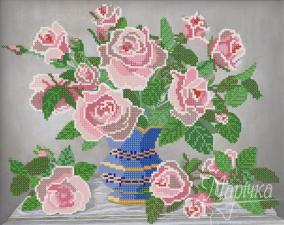 Розовые розы. Размер - 33 х 26 см.
