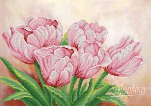 Розовые цветы весны. Размер - 43 х 31 см.
