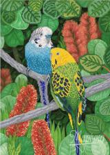 Волнистые попугайчики. Размер - 31 х 43 см.