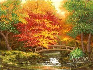 Осенний мостик. Размер - 35 х 26 см.
