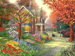 Осенний дворик. Размер - 35 х 26 см.