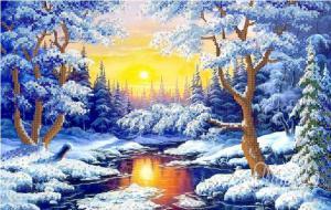 Зимний лес. Размер - 37 х 23 см.