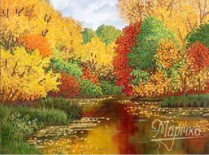 Осенний пруд. Размер - 35 х 26 см.