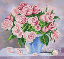 Нежные розы. Размер - 28 х 26 см.