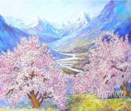 Весна в горах. Размер - 31 х 26 см.