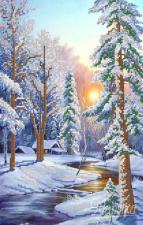 Зимний пейзаж. Размер - 23 х 37 см.