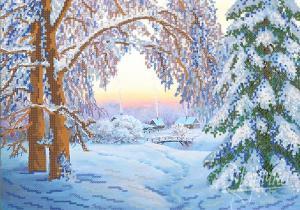 Зимний вечер. Размер - 37 х 26 см.