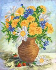 Летние цветы. Размер - 26 х 33 см.