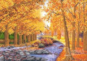Осенний лес. Размер - 37 х 26 см.