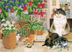 Кошачье семейство. Размер - 36 х 26 см.