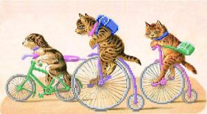 Велосипедисты. Размер - 47 х 24 см.