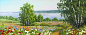 Пейзаж с цветами. Размер - 47 х 24 см.