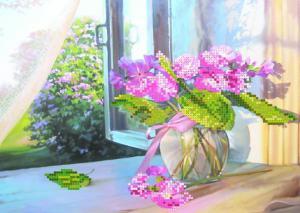Цветы на окне. Размер - 34 х 28 см.