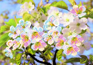 Ветка вишни. Размер - 34 х 28 см.