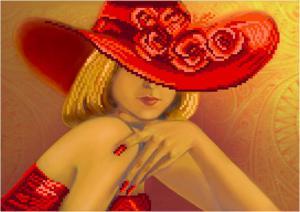 Дама в красном. Размер - 34 х 28 см.