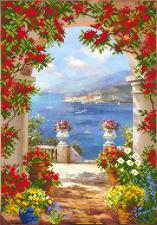 Цветы Средиземноморья. Размер - 37 х 49 см.