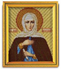 """Икона из ювелирного бисера """"Св.Анна Пророчица"""". Размер - 12 х 14,5 см."""