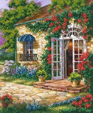Дом в саду. Размер - 26 х 31,2 см.