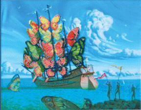 """По мотивам В.Куш """"Отплытие корабля бабочек"""". Размер - 42,5 х 33 см."""