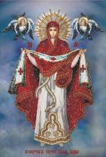 Покров Пресвятой Богородицы. Размер - 24,5 х 36,5 см.