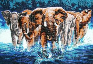 Африканские слоны. Размер - 50 х 34 см.