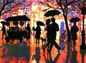 Дождливый вечер. Размер - 35 х 26 см.
