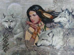 Танец с волками. Размер - 35 х 26 см.