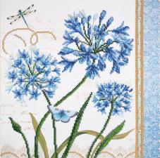 Голубые цветы. Размер - 30 х 30 см.