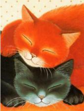 Спящие коты. Размер - 30 х 40 см.